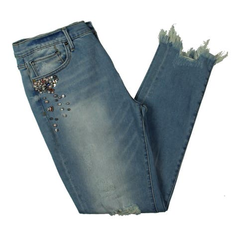 Aqua Womens Rhinestones and Pearls Straight Leg Jeans Embellished Distressed