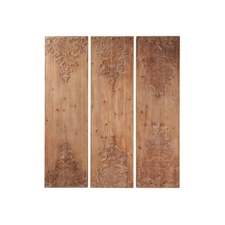 "Link to Large Hand-Carved Natural Wood Wall Decor Panels w Antique and Acanthus Carvings Set of 3 15.5"" x 55"" Each Similar Items in Wall Sculptures"