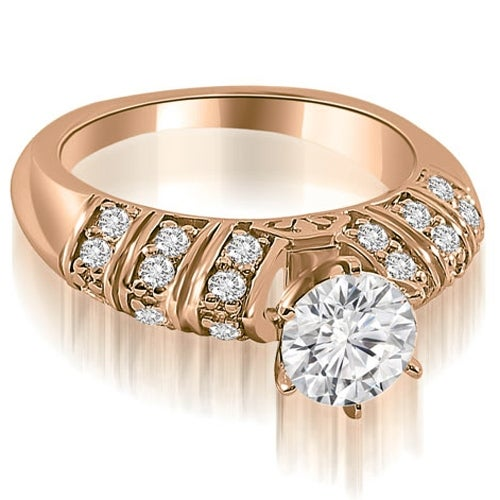 1.00 cttw. 14K Rose Gold Antique Style Round Cut Diamond Engagement Ring