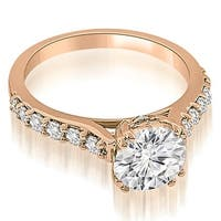 0.75 cttw. 14K Rose Gold Cathedral Round Cut Diamond Engagement Ring