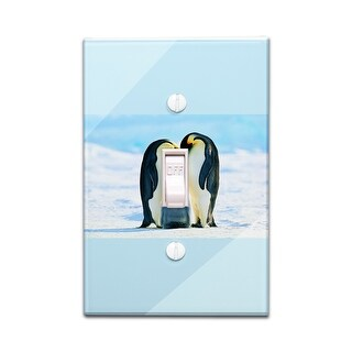 Emperor Penguins & Baby - Lantern Press Photography (Light Switchplate Cover)