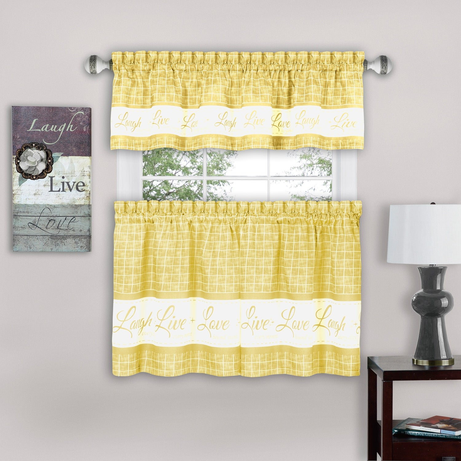 Live Laugh Love 3 Piece Kitchen Curtain Set Tiers 58x36 Swag 58x14 Inches Overstock 30385914 Blue