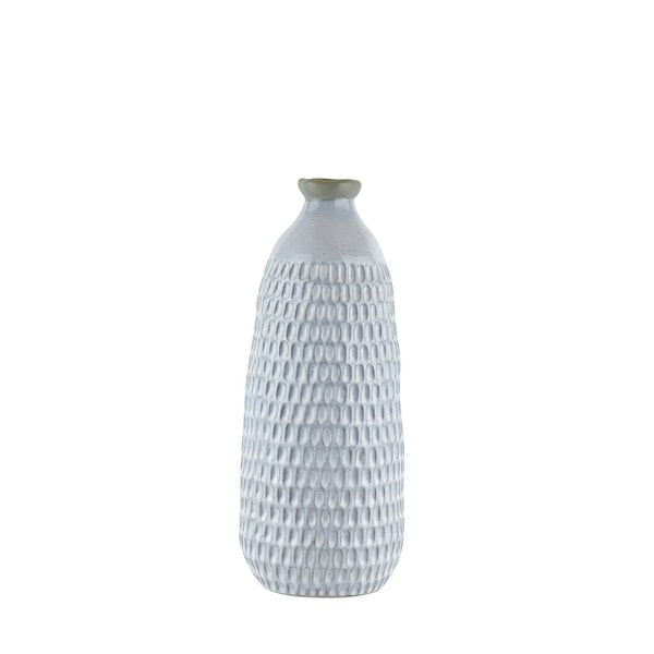 Ceramic Vase with Engraved Scalloped Pattern, Large, Gray