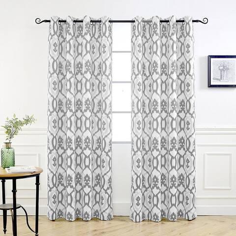 DriftAway Evelyn Ikat fleur Pattern Thermal Room Darkening Window Curtain Panel Pair