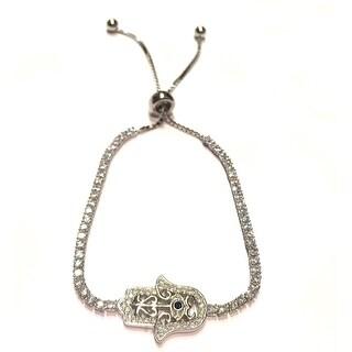 925 Sterling Silver Adjustable Hamsa Hand Tennis Bracelet With Blue Cubic Zirconia Stone