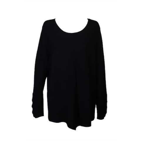 Alfani Plus Size Deep Black Ribbed-Knit Tunic Sweater 0X