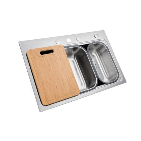 Workstation 33 Inch Drop-in Topmount 18 Gauge Single Bowl Stainless Steel Kitchen Sink w/ Integrated Ledge, Premium Accessories