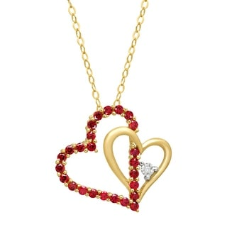 1/2 ct Created Ruby Double Heart Pendant with Diamond in 14K Gold - Red