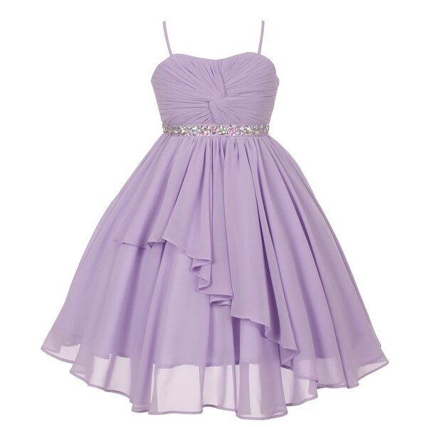 7c4a478d98a Shop Girls Lilac Chiffon Stone Adorned Waist Junior Bridesmaid Dress 8-16 - Free  Shipping Today - Overstock.com - 18161887