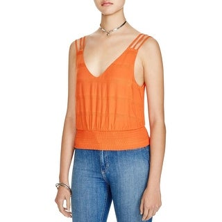 Free People Womens Juniors Crop Top Strapy Smocked