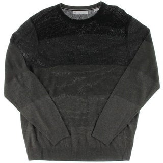 Ryan Seacrest Mens Textured Colorblock Crewneck Sweater
