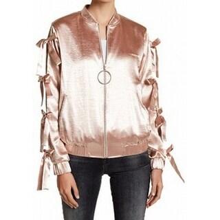 Ro & De NEW Pink Womens Size Medium M Shiny Lace-Sleeve Bomber Jacket