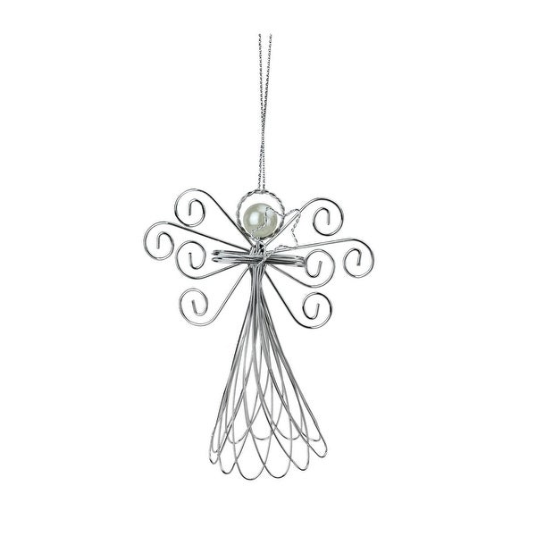 """5"""" Wire Angel Holding Star Decorative Christmas Ornament - silver"""