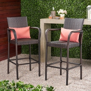 Link to Christopher Knight Home Delfina Outdoor Wicker Barstool (Set of 2) Similar Items in Patio Furniture