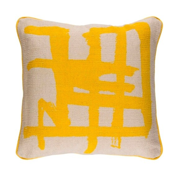 "20"" Canary Yellow and Taupe Gray Asian Design Woven Throw Pillow"