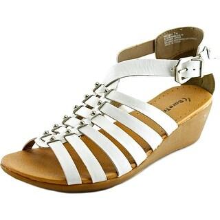 Baretraps Mallery Women Open Toe Leather White Wedge Heel