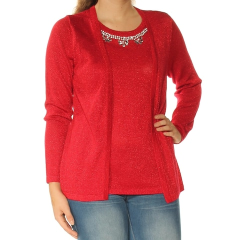 NY COLLECTION Womens Red Beaded Long Sleeve Jewel Neck Top Size: S