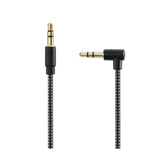 REIKO NYLON BRAIDED RIGHT ANGLE 3.5MM MALE TO MALE STEREO AUDIO CABLE 3.9FTS IN BLACK