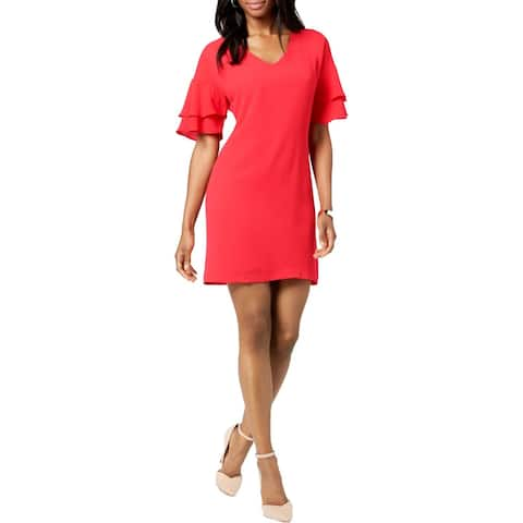Jessica Howard Womens Petites Party Dress Mini Ruffle Sleeves
