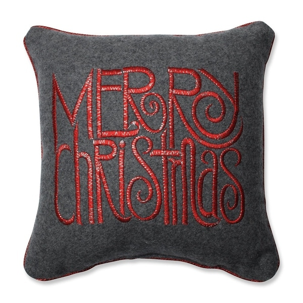 """11.5"""" Decorative Gray and Red """"Merry Christmas"""" Corded Holiday Throw Pillow"""
