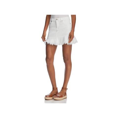 Blank NYC Womens Denim Skirt Frayed Hem Mini