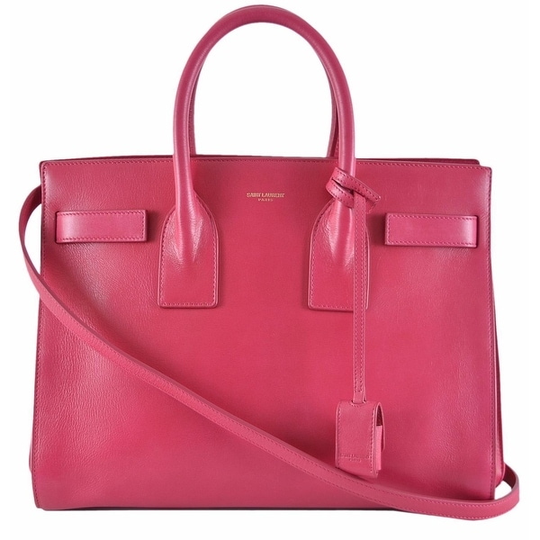 81ffde41eb94 Shop Yves Saint Laurent YSL Pink Leather Sac de Jour Small Handbag Purse W  Strap - On Sale - Free Shipping Today - Overstock - 12057558