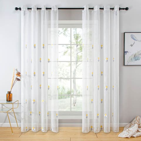 Sheer Curtain Panel White Window Treatments