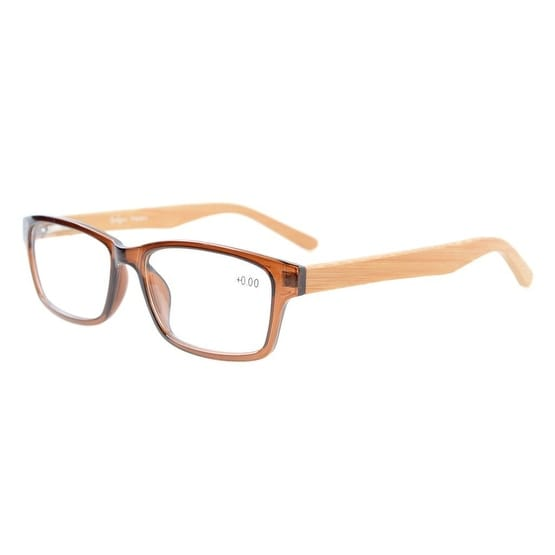 Readers Quality Spring Hinges Bamboo Temples Reading Glasses Brown +1.0
