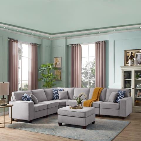 LILOLA Casanova 7Pc Modular Sectional Sofa in Light Gray Linen - Grey