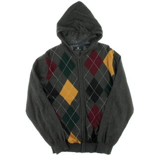 Argyle Culture Mens Argyle Long Sleeves Hooded Sweater