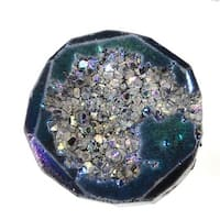 Agate Titanium Druzy Gemstone, Assorted Top-Drilled, Large 25-41mm, 1 Pc, Blue Iris