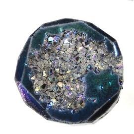Agate Titanium Druzy Gemstone, Assorted Top-Drilled, Large 25-41mm, 1 Pc, Blue Iris
