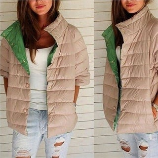 Collar Warm Short Padded Cotton Half-sleeve Ladies Down Coat