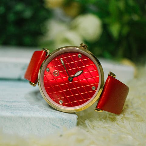 Green, Blue, Red Color Magnicor Watch Company Quartz Movement 40Mm Dial Genuine Leather Strap Wrist Watch