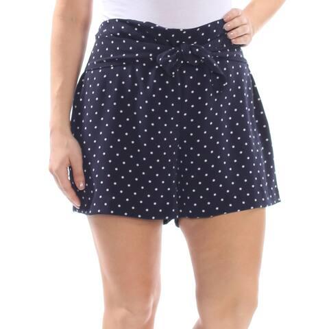 BAR III Womens Navy Tie Polka Dot Short Size: 14