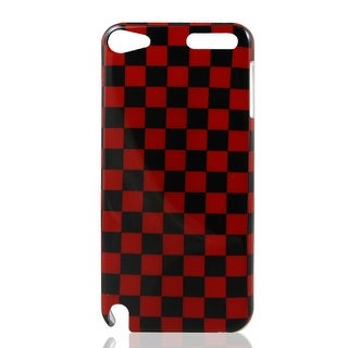 Check Print IMD Hard Back Skin Case Cover Black Red for iPod Touch 5 5G