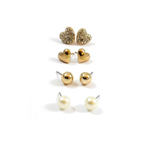 Multi Earrings Set Hearts Round Balls Gold Pearl
