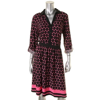 NY Collection Womens Printed Button-Up Wear to Work Dress - L
