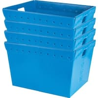 Small Plastic Nesting Storage Totes - Blue (Set of 4)