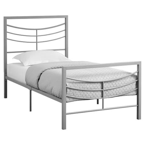 "78.25"" Matte Silver Contemporary Style Rectangular Bed Frame - Twin Size"
