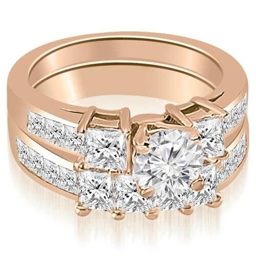 3.35 cttw. 14K Rose Gold Channel Princess and Round Cut Diamond Bridal Set
