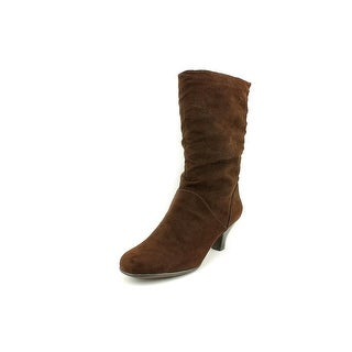 Aerosoles Wise-N-Shine Women W Round Toe Canvas Brown Mid Calf Boot