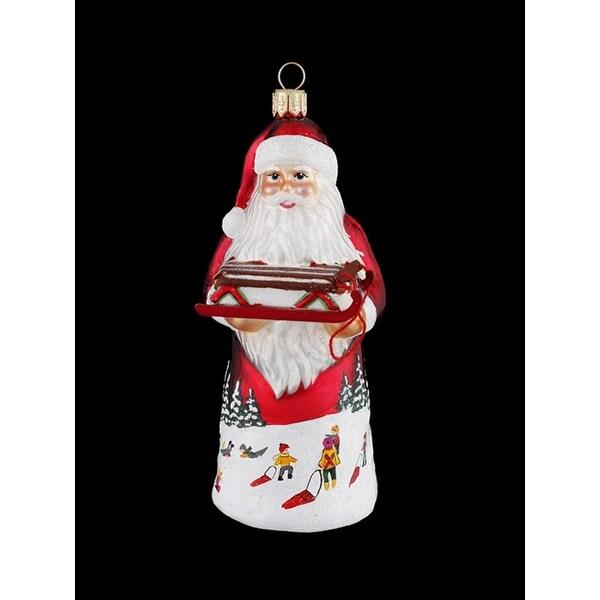 "5.25"" David Strand Designs Glass Red Sled Santa Claus Christmas Ornament"
