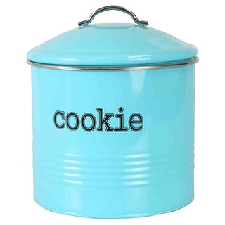 Home Basics Tin Cookie Jar, Ribbed Design, Turquoise, 7.5x7.6 Inches