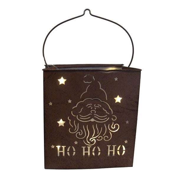 "12.5"" Shimmering LED Lighted ""Ho Ho Ho"" Santa Claus Battery Operated Christmas Lantern - brown"