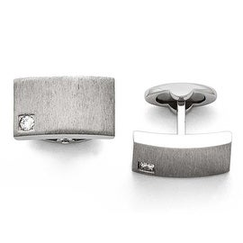 Chisel Stainless Steel Polished and Brushed CZ Cuff Links