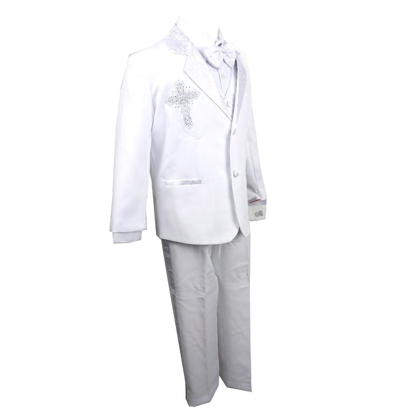 d9d6cd998 Shop Rafael Collection Baby Boys White Jacquard 5 Pcs Baptism Tuxedo Set -  Free Shipping Today - Overstock - 23140235
