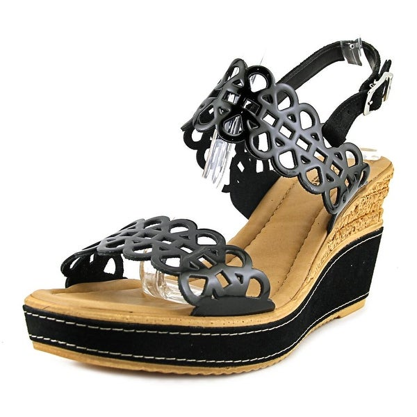 Azura Nicola Women Open Toe Patent Leather Black Wedge Sandal
