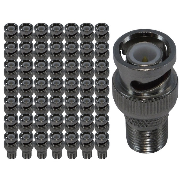 BNC Male to Female F-type Connector Adaptor, 50 pack