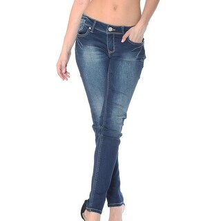 Grace in LA Denim Jeans Womens Soft Skinny Fading Dark Wash